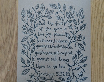 Fruit of the Spirit - Original - Linoprint - Handmade - Limited Edition