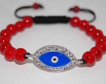 Evil Eye Bracelet,Red Coral Stone Bracelet,Fatima,Red Coral Gemstone Beaded,Man,Woman,Yoga,Pray,Protection,Meditation,Shamballa Bracelet