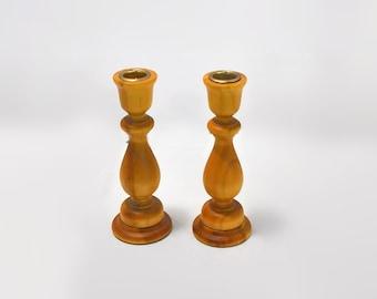 Pine Turned Wood Candle Stick Holders Vintage Woodsy Woodland Home Decor