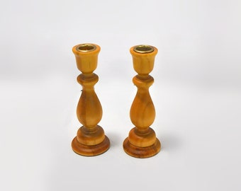 Pine Turned Wood Candle Stick Holders Vintage Woodsy Woodland Home Decor