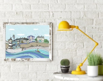 Art Print - Sights of Seaham - memories of sea glass hunting - P&P inclusive -From Seaham England