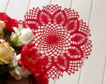 Crochet doily Red handmade cotton crochet doily Lace doily Crochet doilies Pineapple crochet doily 339
