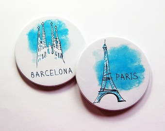 Coasters, Travel Coasters, Drink Coasters, Set of Coasters, Hostess Gift, Paris, Barcelona, eiffel tower, Blue, Mix and Match (5249d)
