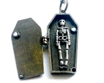 Coffin Locket Vampire Skeleton Necklace Psychobilly Handmade Gift