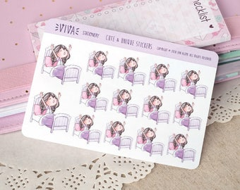 Kawaii Girl Decorative Stickers: Bedtime, time to wake up, sleeping ~Violet~ For your Life Planner, Diary, Journal, Scrapbook...