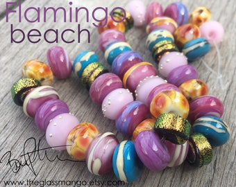 Lampwork Glass Beads, Dichroic Glass Beads, Pink Gold Beads, Bree Peterson Beads, Artisan Lampwork Beads, Handmade Glass Bead Set