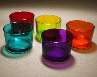 Set of 5, Coloful Glass Tumblers, Container.