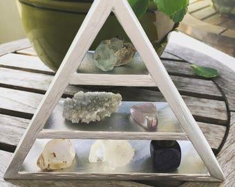Moon Goddess Triangle Shelf, Silver Triangle, Silver Triangle Pyramid, Silver Triangle Shelf, Geometric Shelf, Goddess, Boho, Goddess Shelf