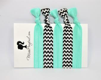 Chevron Hair Ties, Sea Foam Green, Black & White Hair Ties, Elastic Hair Ties, Handmade, Elastic Ribbon, Ponytail Holder, Knotted Hair Ties