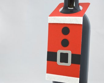 Santa Suit Christmas Wine Bottle Tag in Red