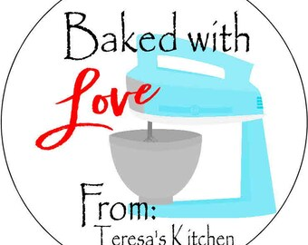 12 Stickers 2.5 inch Round Personalized baking bake food labels stickers custom food prep