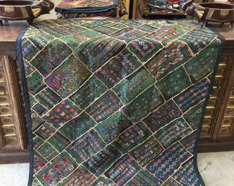 Antique Vintage Exotic Tapestry Green Embroidered Hand Crafted Festive Boho Wall Decor FREE SHIP
