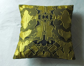 Black & Yellow jacquard pillow cover 16x16