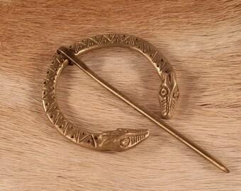 Fantasy double dragon head brooch in cast brass, nordic, viking, scandinavian design