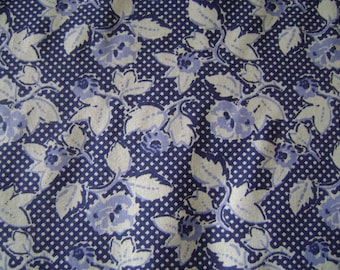 Dark Blue Floral Cotton Fabric (35 inches)