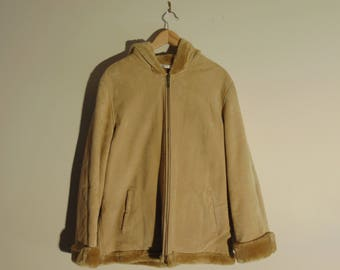 Wilsons Leather Womens L Full Zip Genuine Leather Suede Faux Fur Winter Jacket Outerwear Beige Fur Hood