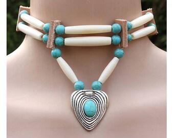 Native American choker, bone hair pipe choker, turquoise necklace, Handmade tribal choker, bohemian necklace, gypsy necklace, Indian choker