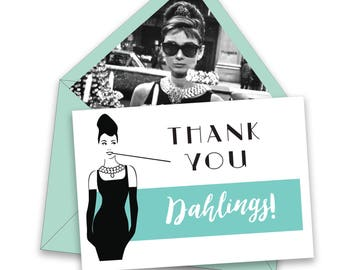 BOX OF 12 Breakfast at Tiffany's Thank You Notes