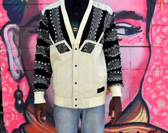 Vintage Fresh Prince Sweater. 90s MENS Black and Cream Cardigan w Funky Leather Accents. Coogi Wannabe. 1990s Jumper. Size M L Medium Large
