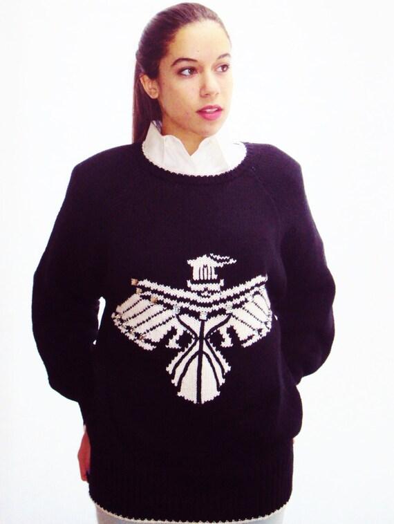 navy cotton sweater / INTARSIA knit / medium