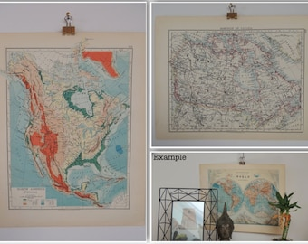Map of North America (Physical) & Dominion of Canada Vintage 1904
