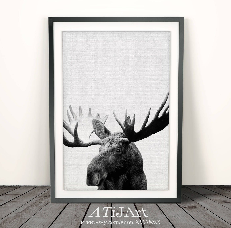 Moose Print Moose head moose antler moose artWoodland