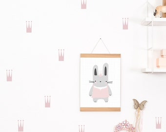 Wall decals / wall stickers pink 24 crowns
