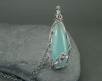 Mermaid necklace ~ Mermaid jewelry for women ~ Sterling silver ~ Wire wrapped ~ Mermaids ~ Mermaid necklaces for women ~ Silver mermaid gift