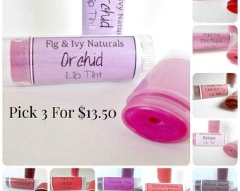 Lip Balm Set -  Pick 3 Lip Tints Gift Set - Natural Makeup Set - Tinted Lip Balms - Lip Stain