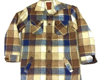 Mens Vtg Flannel Ranch Sherpa Lined jacket Medium Long