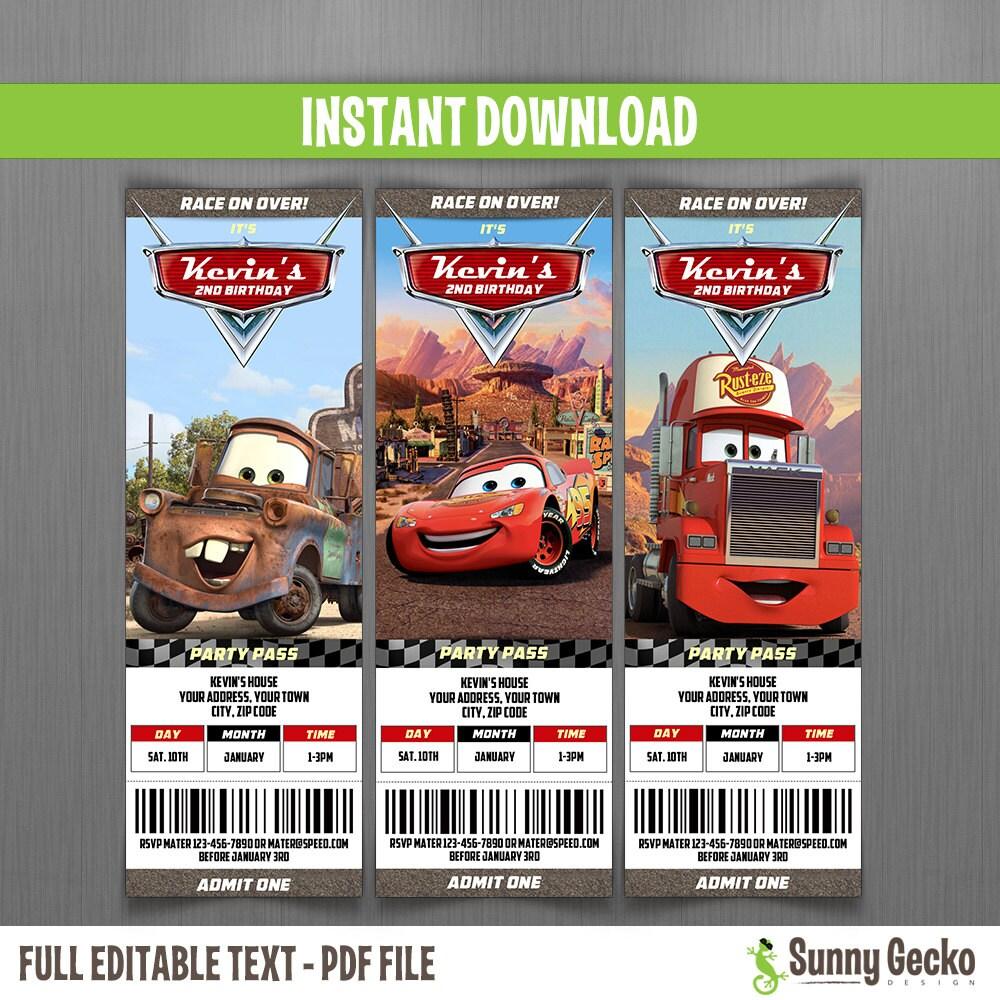 Ticket Invitaciones de Cumpleaños de Disney Cars Descarga