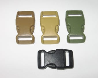 """100 ct 5/8"""" side release buckles for paracord braclets black, coyote, OD green"""