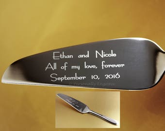 Engraved Cake Server,over 500 font choices, Stainless. Personally Engraved, not cheap hand stamping or etched Wedding, Birthday, Anniversary