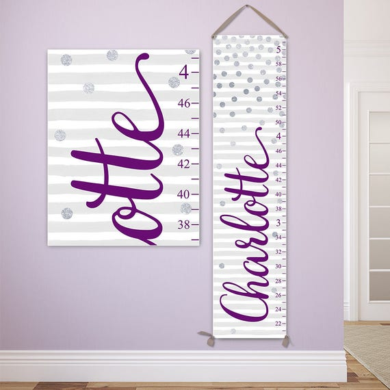 Silver and Purple Growth Chart - Personalized Canvas Growth Chart, Purple and Silver Nursery Decor, Polka Dots Nursery Decor  - GC2028E