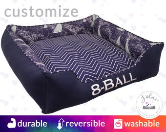 Personalised Sail Boat Dog Bed - Navy & White  | Nautical, Ocean, Sea, Chevron, Anchors | Washable with Removable Cover