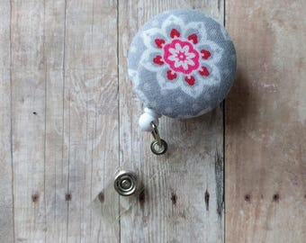 CLEARANCE- Flower Badge Reel ID Holder, Hot Pink & White Flower on Gray Cotton, Made in USA, Retractable Modern Floral Badge Clip