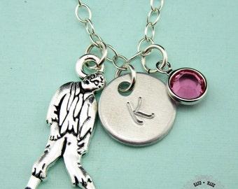 Custom Zombie Charm Necklace, Zombie Necklace, Sterling Silver Necklace, Custom Jewelry, Birthstone,Charm Necklace,Monogram,CPE002