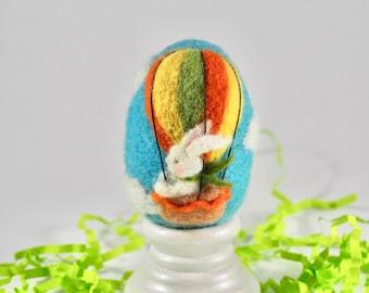 Needle Felted Egg - Hot Air Balloon Bunny - Easter Egg - Wool Felt Egg - Easter Spring Decor