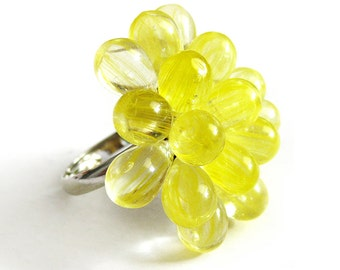 Lemon Berry Ring, Summer Cocktail Ring, Sunny yellow statement ring, Bubbly cluster ring, Yellow Cluster beaded ring, Expandable Ring