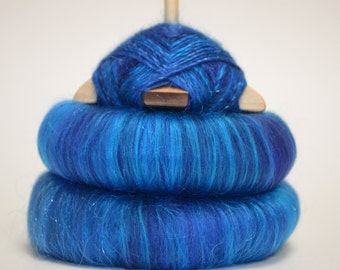 "Sweet Rolls - Rolags - Punis - Fiber hand blended for spinning - ""Sapphire Skies"" - Ready To Ship"