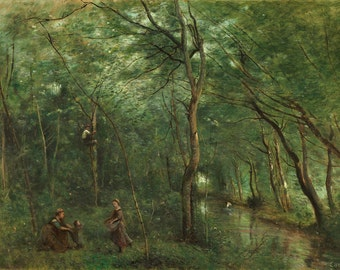 """Camille Corot : """"The Eel Gatherers"""" (1860/1865) - Giclee Fine Art Print"""