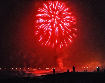Fireworks over San Francisco Bay, Beach Fireworks, Christmas Fireworks, Red Fireworks, Smoke on the Water