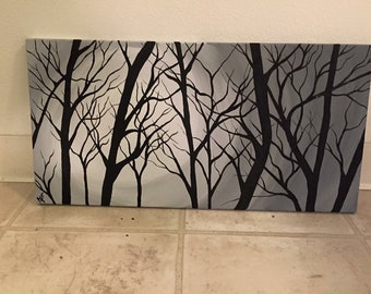 Tree painting / branches / black and white / tree branches / original painting