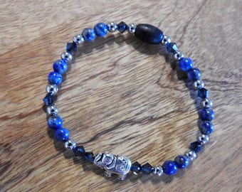 Natural Lapis Lazuli healing gemstone stretch bracelet with Swarovski Crystals and Majestic Elephant Spacer