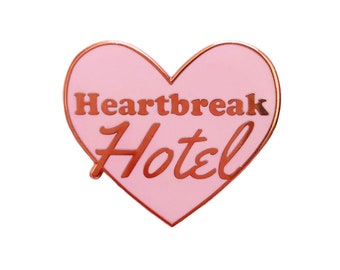 Pink heart break hotel enamel pin