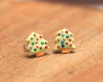 Christmas tree Earrings, Christmas Tree Ear Studs, Christmas Jewelry, Christmas Earrings, Christmas Tree Jewelry