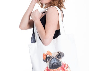 Miss Pug Canvas Tote Bag