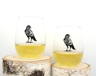 Wine Glasses - Blackbird and Deer - Stemless Wine Glasses - Set of Two Wine Glasses 17oz.