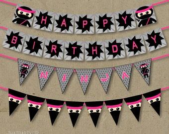 Pink Ninja Happy Birthday Party Banner - DIY Digital U Print - Instant Download
