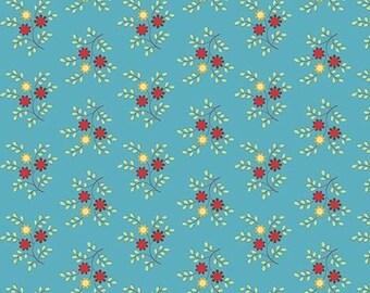 Bleeker Street Flower Spring Dk Blue Mist by Quilting Treasures